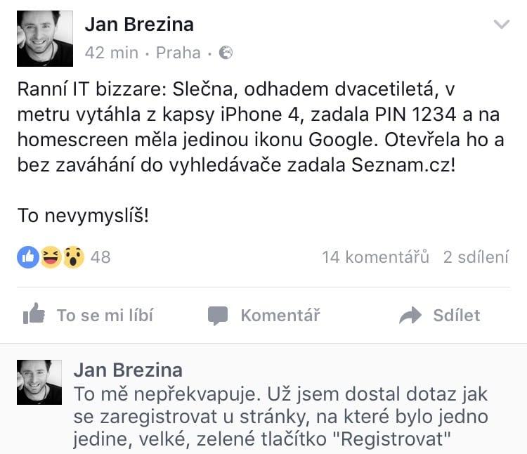 příspěvek na facebooku od Jan Březina