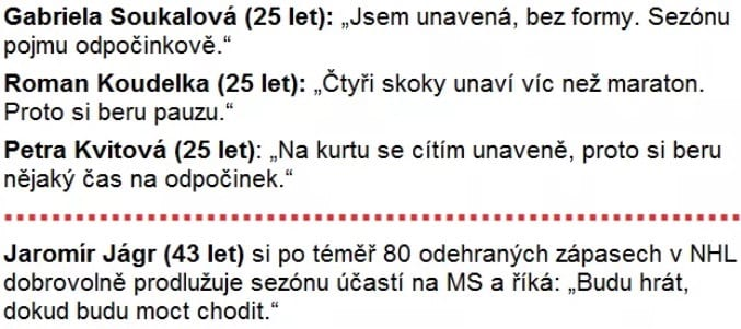 disciplína Jaromíra Jágra